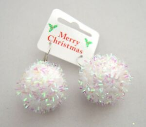 NEW-White-christmas-snowball-drop-earrings-costume-jewellery-festive-party