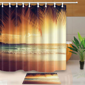 Beach-Sunrise-at-Pacific-Hawaiian-Shower-Curtain-Bathroom-Fabric-amp-12hooks-new