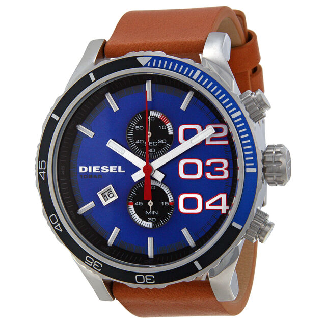 Diesel Double Down 48 Blue Dial Chronograph Blue Dial Tan Leather Mens Watch