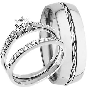 Men-039-s-Rope-TITANIUM-Band-and-Women-039-s-STERLING-SILVER-Engagement-Wedding-Ring-Set