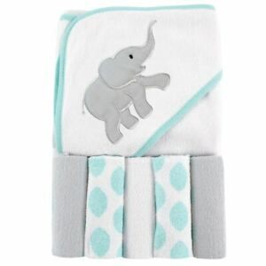 Luvable-Friends-Girl-Hooded-Towel-with-Washcloths-6-Piece-Set-Ikat-Elephant