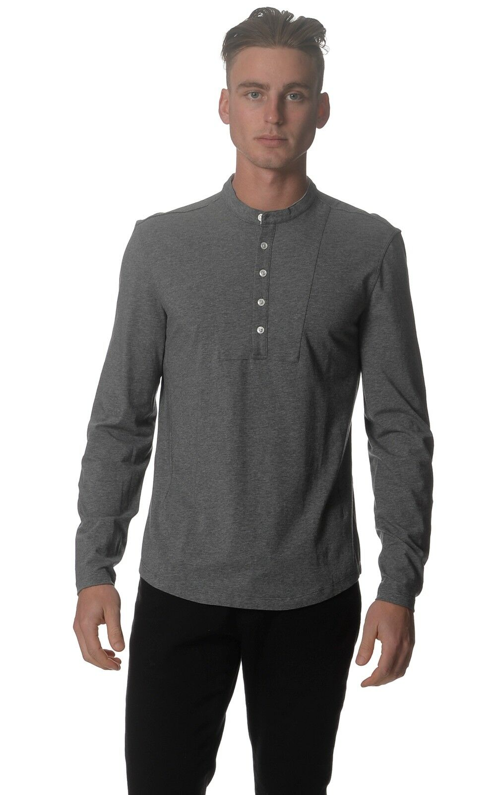 Kit and Ace Mens Logan Grey Long Sleeve Cashmere Mix Top Jumper S M
