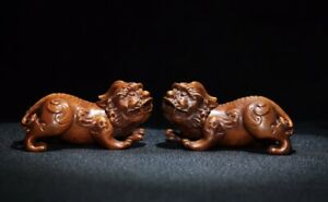 Decor Fengshui Lucky Pixiu Auspicious Beast Pair Natural Boxwood wealth Statue