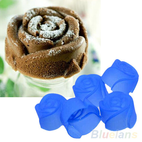 10X Silicone Rose Muffin Cookie Cup Cake Baking Mould Chocolate Maker Mold BD4U