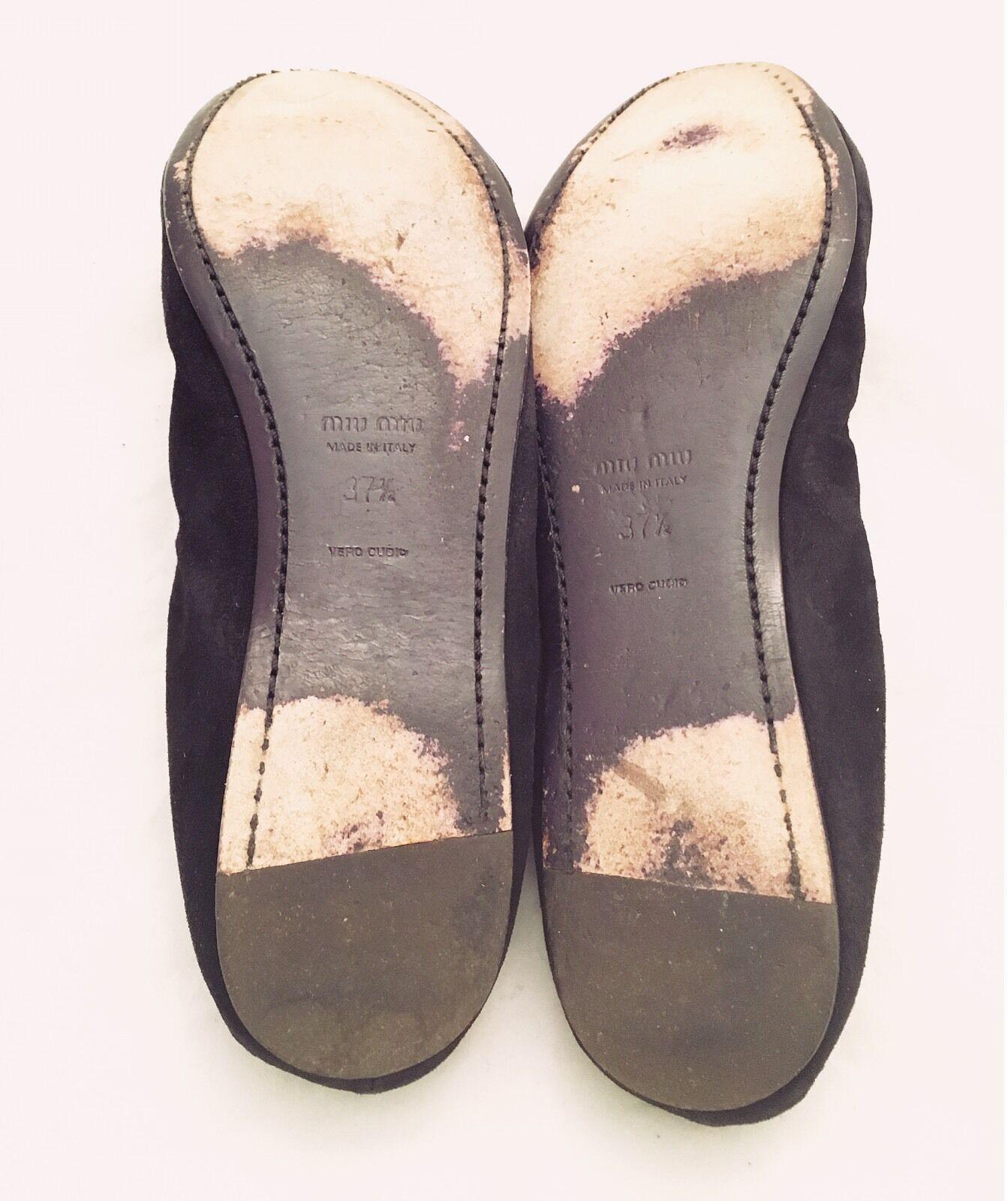 Womens - - - MIU MIU - Betelgeuse Black & Purple Velvet Suede Slipper Ballet Flats 7 83aad7