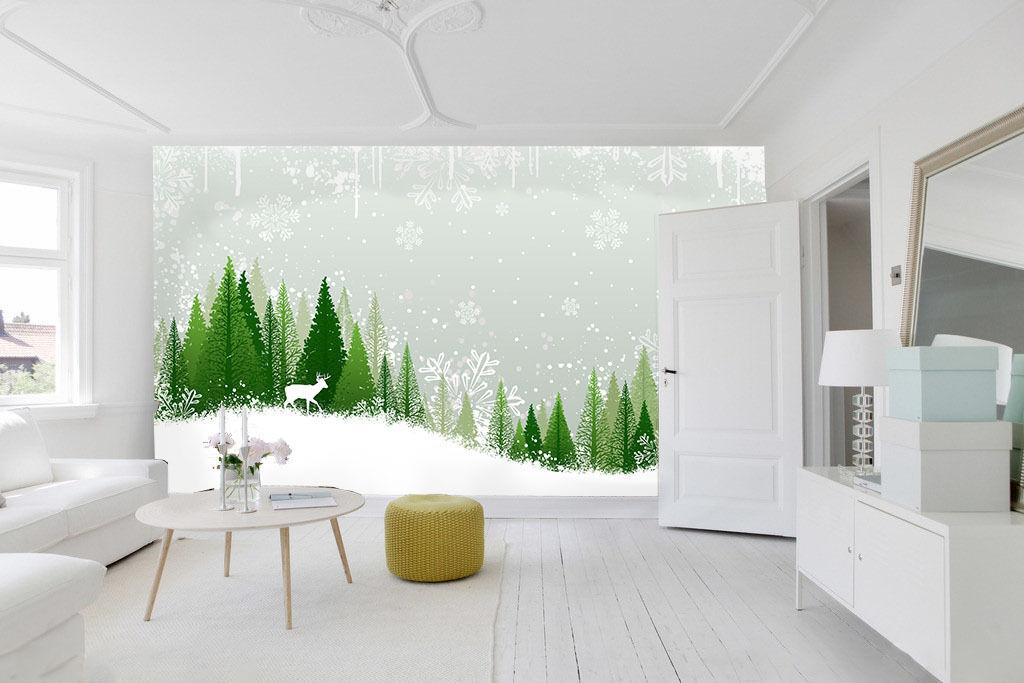3D Wald, Hirsch 0391 Fototapeten Wandbild Fototapete BildTapete Familie DE