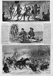 CUSTER-SHOOTING-WORTHLESS-HORSES-INDIAN-1869-WAR-HISTORY-ENGRAVING