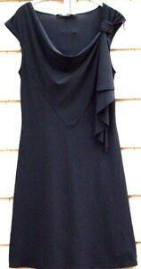 NWOT-B-039-leev-Black-Ruffle-Trim-Sleeveless-Dress-Size-Medium