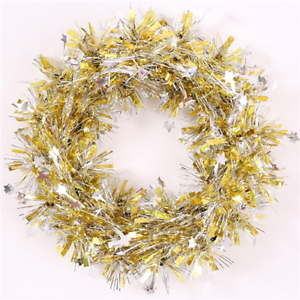 Small Gold With Mini Silver Stars Tinsel Wreath Christmas Decoration Door