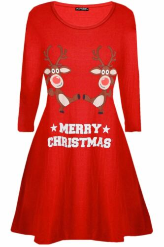 Womens Ladies Long Sleeve Elf Candystick Snowflakes Flared Christmas Swing Dress