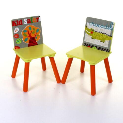 KIDS WOODEN TABLE /& CHAIR SET CHILDRENS BEDROOM PLAYROOM FURNITURE JUNGLE DESIGN