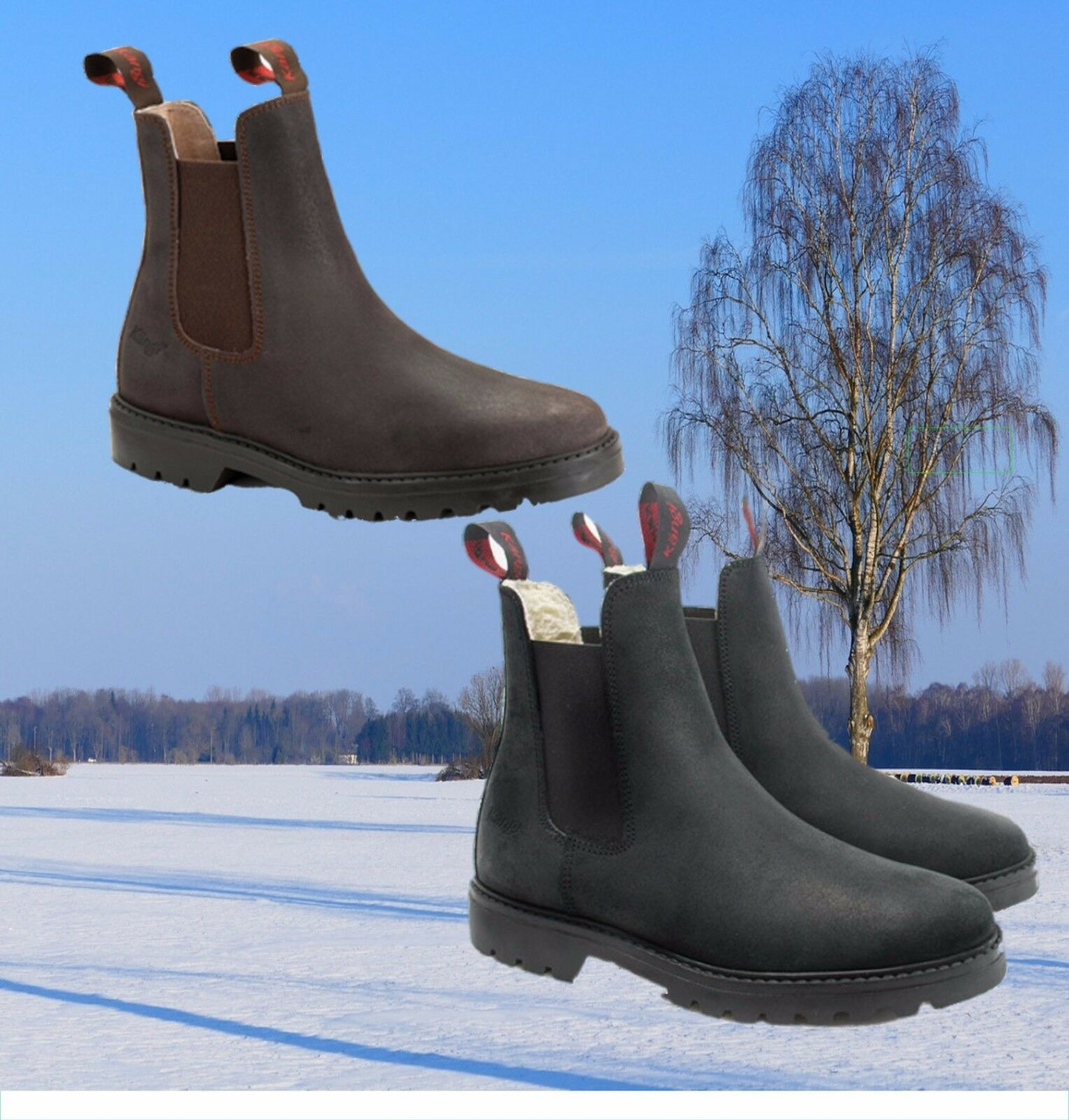 HOBO Kängi on Ice Thermo Stiefelette, Hobo Winter Leder Stiefelette, Webpelz