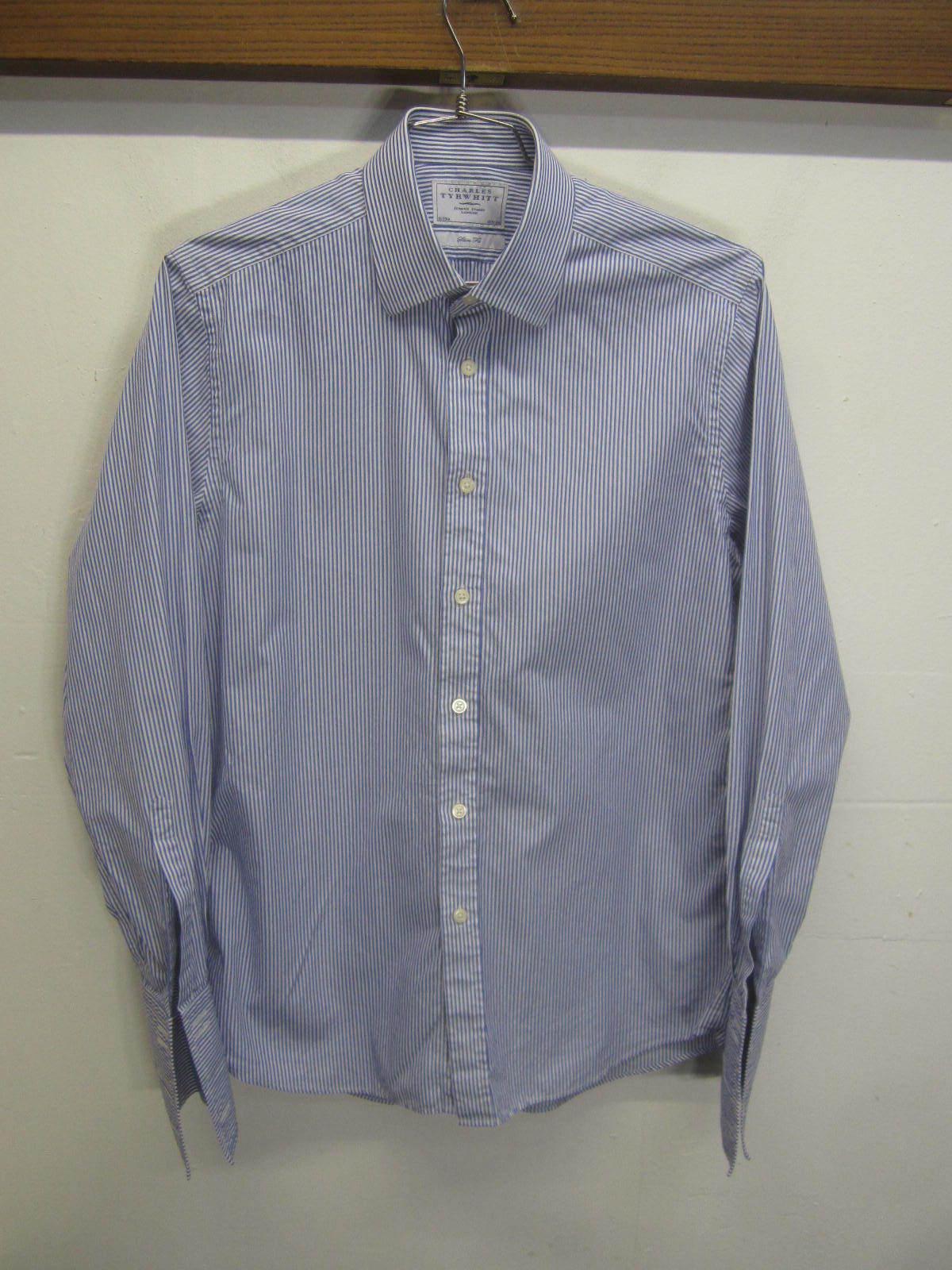 EUC Charles Tyrwhitt Dress Shirt striped cotton french cuff slim fit sz 16 - 35