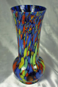 1920s-30s-CZECHOSLOVAKIA-Vase-SIGNED-End-of-Day-Spatter-Glass-Footed-EXCELLENT