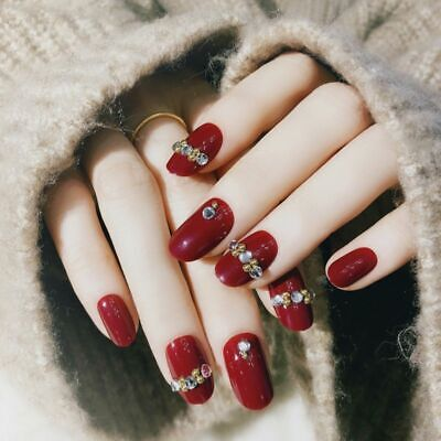 false press on nails red rhinestones elegant manicure