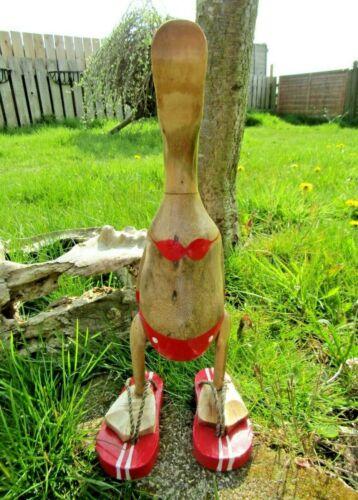 Fair Trade Hand Carved Made Wooden Bamboo Root Flip Flop Duck Ornament Sculpture