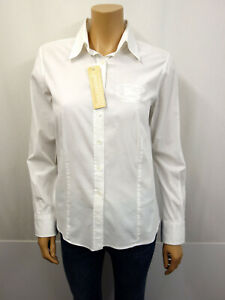 BURBERRY-London-Nova-Check-Designer-Strech-Bluse-Gr-L-40-Tunika-Blouse-Weiss
