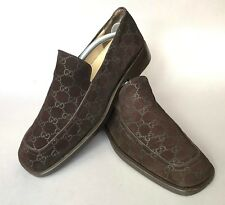 81e5bf4757f Gucci brown monogram suede signature GG Guccissima loafers 42 1 2 or 9 1