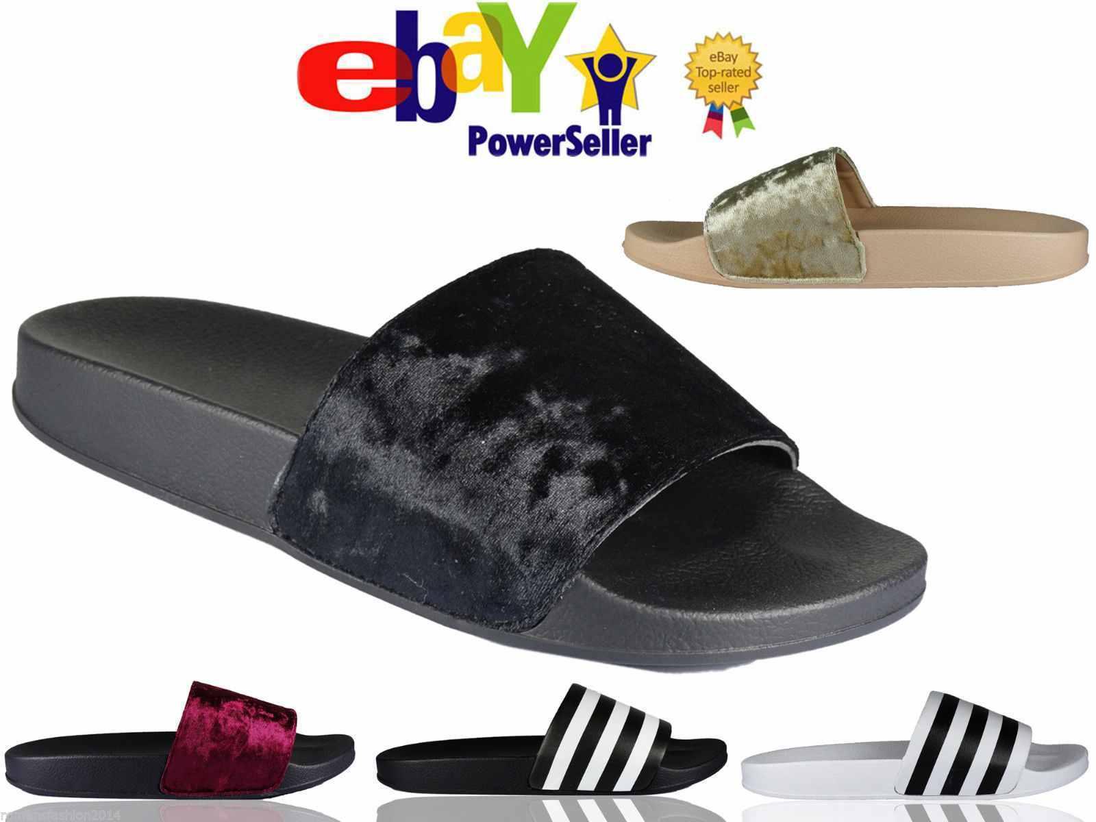 Girls Slip On Slipper Size Mules Flat Farrah Rubber Slider Mules Size Ladies Rihanna Sandal c4de2c