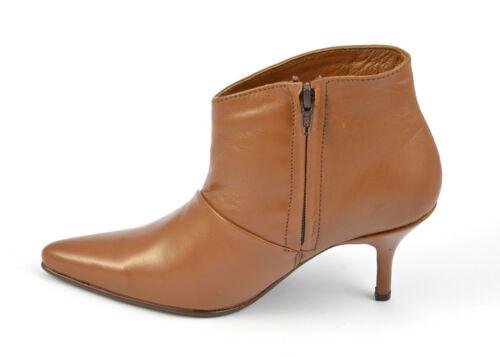 Pour femme bout pointu cheville haute bottes zip-up en cuir 3 pouces taille de chaussures talons