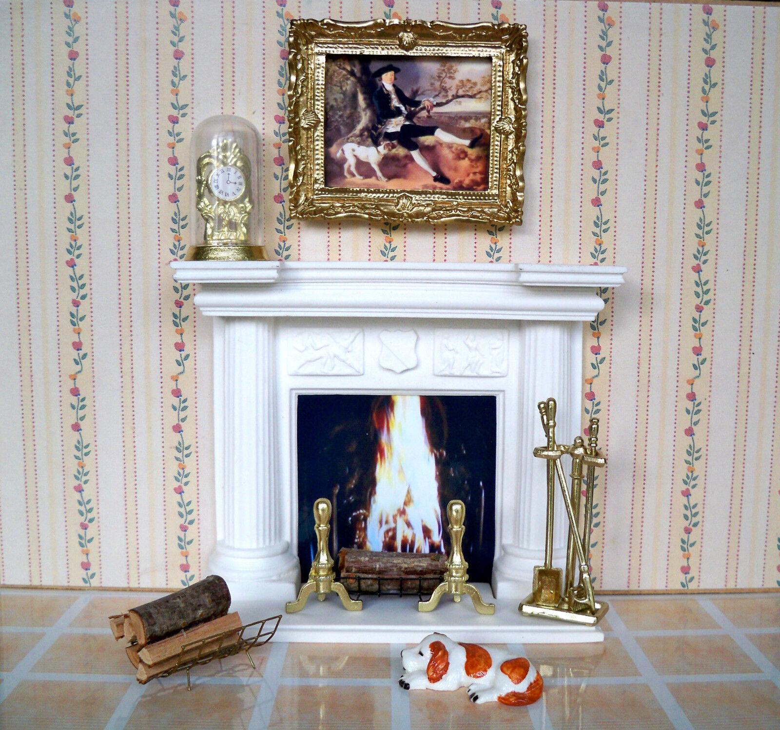 1 12 12 1 Puppenhaus Miniatur - KAMIN weiß ( Exklusiv ) mit  viel Zubehör (03) 3dc1c0