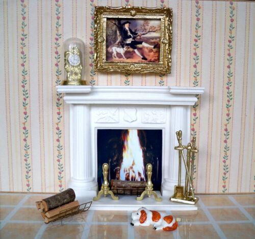 1:12 maison de poupée miniature-cheminée blanc exclusif avec nombreux accessoires 03