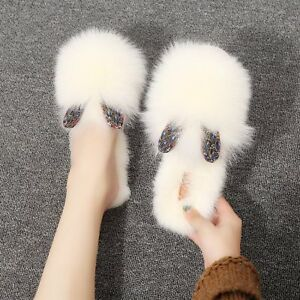 Womens-Slippers-Rabbit-Fur-Casual-House-Shoes-Warm-Soft-Slides-Fashion-Cute-New