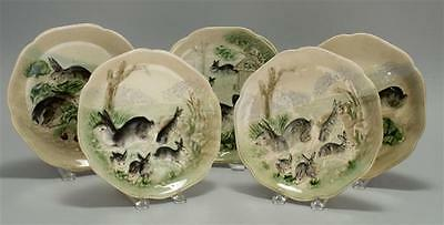 FIVE HIPPOLYTE BOULANGER RABBIT-DECORATED MAJOLICA PLATES Each with s... Lot 424