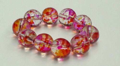 "ROUND   GLASS  BEADS /""PINK//RED/"" PACK 20"