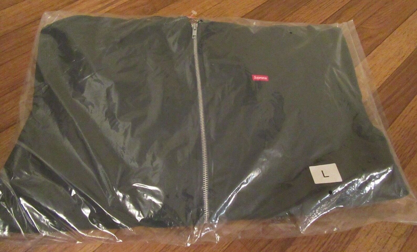 Supreme Contrast Zip Up Hooded Sweatshirt Größe Large Dark Grün SS18SW34 NEW DS