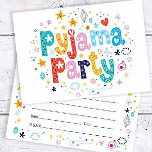 Image Is Loading Pyjama Party Birthday Invitations A6 Postcard Size