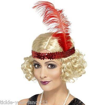 Women/'s 1920/'s Fancy Dress Charleston Short Blonde Wig /& Sequin Headband Gatsby