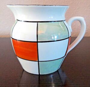 Beautiful-Creamer-Germany-GMY292-Orange-Green-White-Panels-Luster-Art-Deco