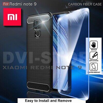 COVER per Xiaomi Redmi Note 7 / Pro CUSTODIA CARBON PELLICOLA VETRO TEMPERATO