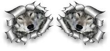 Small Pair STD RIP Ripped Torn Metal with Cute Wolf Wolves Face Eyes car sticker