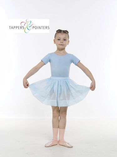 PALE BLUE OR WHITE GIRLS VOILE SPOTTED RAD BALLET SKIRT IN PALE PINK