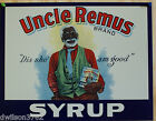 Uncle Remus Syrup Black Americana Food  Kitchen Home Vintage Metal Tin Ad Sign