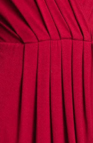 Karen Kane 4L14159 Wild Red Wrap Top Plissé Stretch Robe en Jersey $118