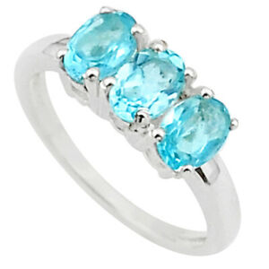 925 Sterling Silver 3.16cts 3 Stone Natural Blue Topaz Ring Size 8 T40903