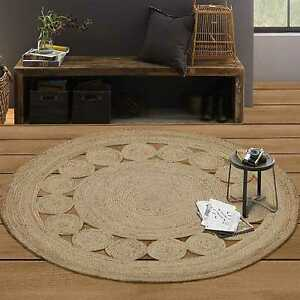 Round Jute Floor Rug -Natural Flower Braided Flatweave Rug (190X190cm) Natural