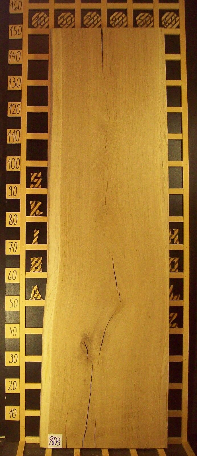 803 Waschtischplatte Eiche Tischplatte Holz Massiv 61mm x 40-44cm x 147cm