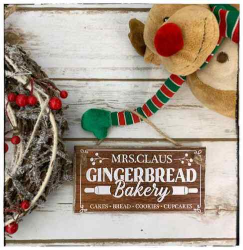 Hanging sign Winter Christmas Mrs Claus Bakery Gingerbread Kitchen sign brown