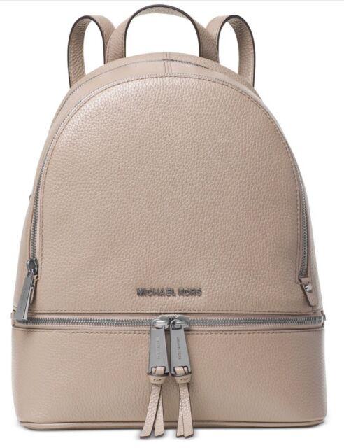 a511aabe8a06c9 New Michael Kors Rhea Zip Medium Backpack cement silver leather bag handbag  tote
