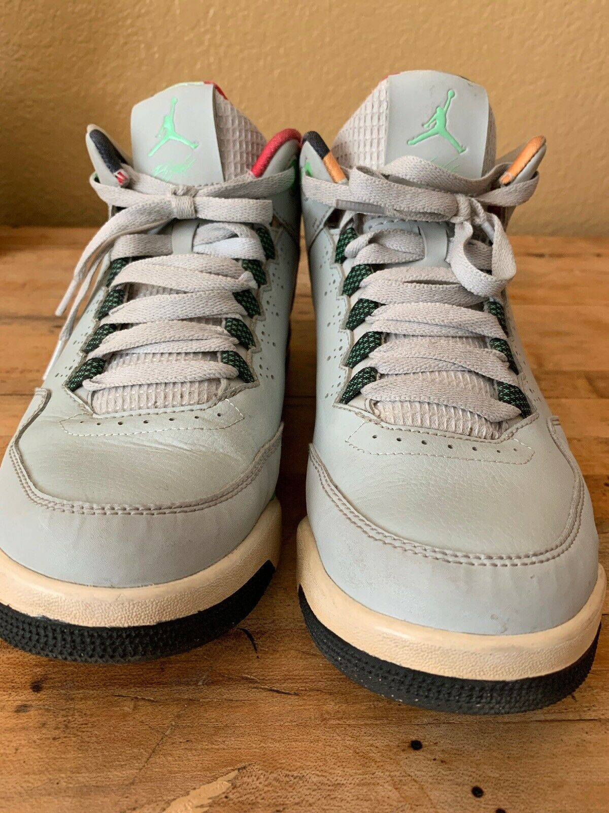 Jordan Flight Orgin 2 705155 Grey Mist Bright Bright Bright Mandarin Black Poison Green 8.5 7fba6f