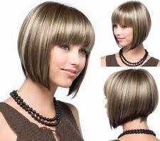 CHSW182 fine blonde mix brown short bob health natural hair wigs for women wig