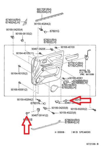 03-07 TOYOTA LAND CRUISER SET OF 2 INTERIOR DOOR PANEL TRIM BOARD CLIP 07066-P4