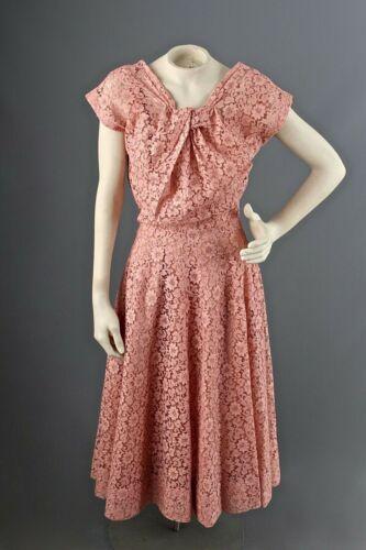 VTG Women's 50s Pink Eyelet A Line Dress W/ Slip S