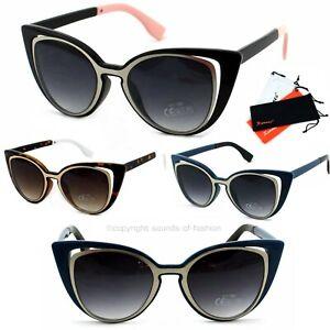 Damen-Retro-Sonnenbrille-Cat-Eye-50er-Katzenaugen-Schwarz-Blau-Lila-Braun-6060