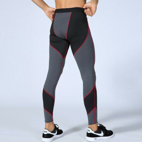 Details about  /Mens Colorblock Base Layer Workout Compression Exercise Fitness Breathable Pants