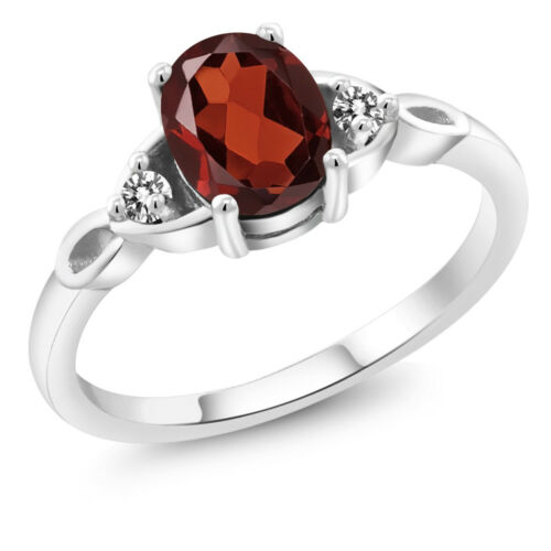 925 Sterling Silver 1.57 Ct Oval Red Garnet with White Diamond Engagement Ring